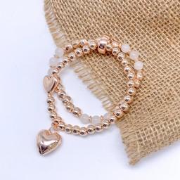 Lucy Cobb Jewellery Heidi Heart Bracelet in Rose Gold