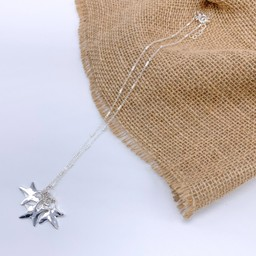Lucy Cobb Jewellery Three Star Charm Short Necklace  in Silver