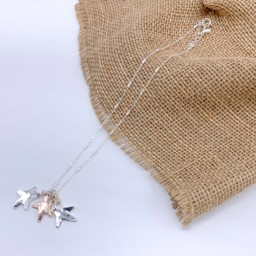 Lucy Cobb Jewellery Three Star Charm Short Necklace  - Silver/Rose Gold