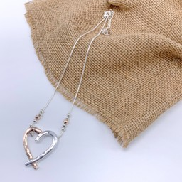 Lucy Cobb Jewellery Hattie Heart Short necklace in Silver/Rose Gold