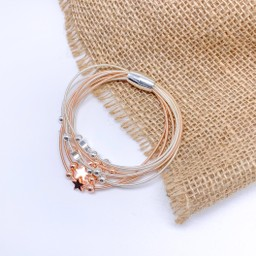 Lucy Cobb Jewellery Layered Star Bracelet in Silver/Rose Gold