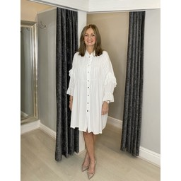 Lucy Cobb Reagan Ruffle Sleeve Shirt Dress in White