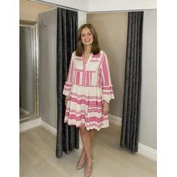 Lucy Cobb Aztec Tiered Dress in Fuchsia