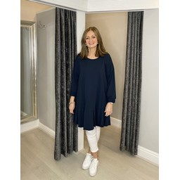 Lucy Cobb Felicity Frill Hem Tunic in Navy