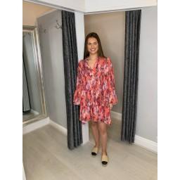Lucy Cobb Laurel Leaf Smock Dress in Coral