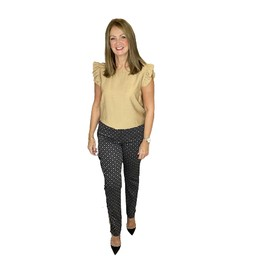 Robell Trousers Marie Octagon Print Trousers in Mocha
