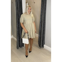 Lucy Cobb Serenity Smock Dress in Stone