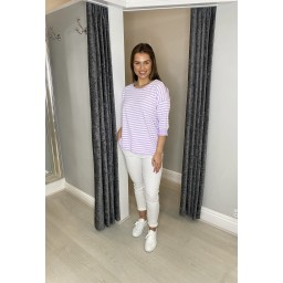 Lucy Cobb Sami Striped Long Sleeve Tee in Lilac