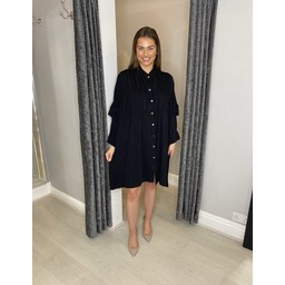 Lucy Cobb Reagan Ruffle Sleeve Shirt Dress in Black
