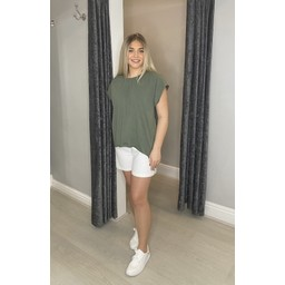 Lucy Cobb Tallie Cap Sleeve T-shirt in Khaki