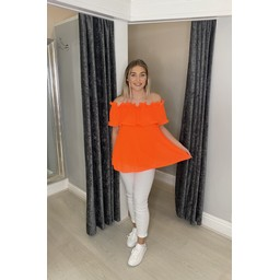 Lucy Cobb Bonnie Bardot Frill Top in Neon Orange