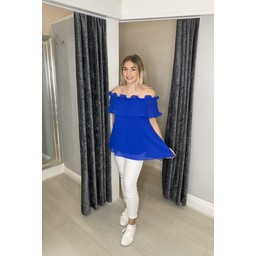 Lucy Cobb Bonnie Bardot Frill Top in Royal