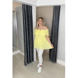 Lucy Cobb Bonnie Bardot Frill Top in Yellow