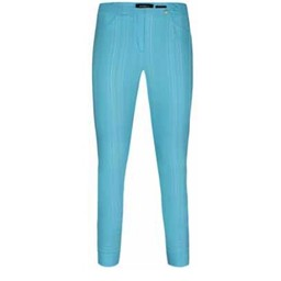 Robell Trousers Bella 09 Seersucker Trousers in Turquoise