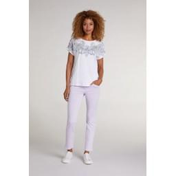 Oui Paisley Diamante T Shirt - White