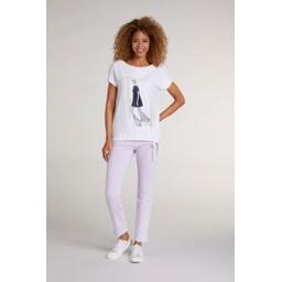 Oui Lady Motif T Shirt - White