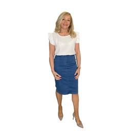 Robell Trousers Maraike Denim Skirt in Light Denim Blue