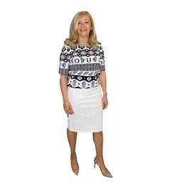 Robell Trousers Maraike Denim Skirt - White