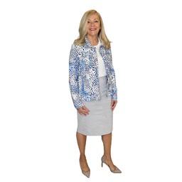 Robell Trousers Christy Jacquard Skirt in Light Grey