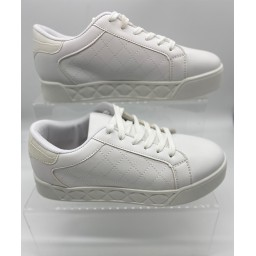 Lucy Cobb Footwear Kia Quilted Platform Trainers in White