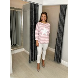 Lucy Cobb Jupiter Striped Star Top in Pink