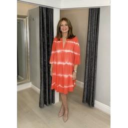 Lucy Cobb Thea Tie Dye Smock Dress - Coral