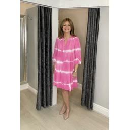 Lucy Cobb Thea Tie Dye Smock Dress - Fuchsia