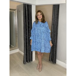 Lucy Cobb Reagan Ruffle Leopard Shirt Dress - Blue