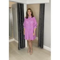 Lucy Cobb Regan Ruffle Leopard Shirt Dress - Lilac