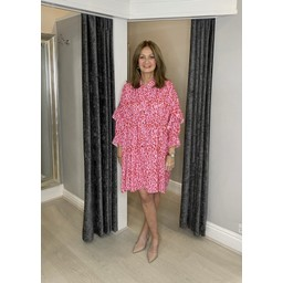 Lucy Cobb Reagan Ruffle Leopard Shirt Dress - Pink