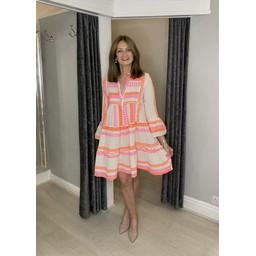 Lucy Cobb Aztec Tiered Dress in Neon Orange