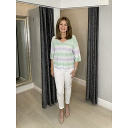 Oui Short Sleeve Knitted Top - White