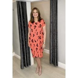Lucy Cobb Taylor Leopard T Shirt Dress - Coral