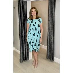 Lucy Cobb Taylor Leopard T Shirt Dress - Mint
