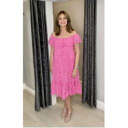 Lucy Cobb Bliss Broderie Bardot Dress - Fuchsia
