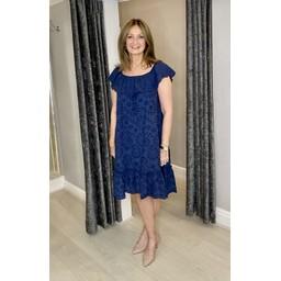 Lucy Cobb Bliss Broderie Bardot Dress - Navy