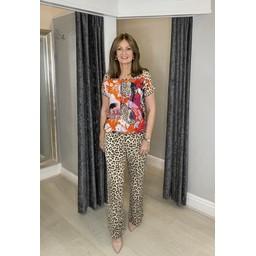 Oui Leopard Print Jersey Trousers  - Leopard Print