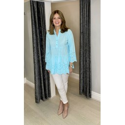 Lucy Cobb Bailee Broderie Smock Top in Turquoise
