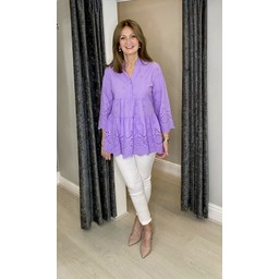 Lucy Cobb Bailee Broderie Smock Top in Lilac