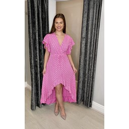 Lucy Cobb Devora Dip Hem Dress - Pink