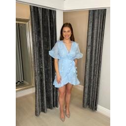 Lucy Cobb Winnie Wrap Cotton Dress  - Baby Blue