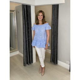 Lucy Cobb Betsy Broderie Bardot Top  - Baby Blue