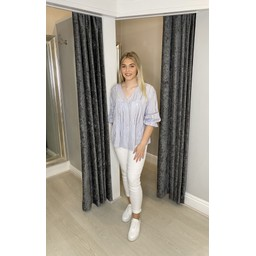 Lucy Cobb Blair Broderie Smock Top  - Silver Grey