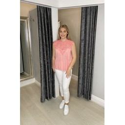 Lucy Cobb Callie Crochet Top  - Coral