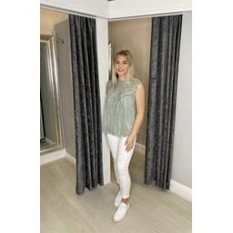 Lucy Cobb Callie Crochet Top  - Khaki
