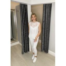 Lucy Cobb Callie Crochet Top  - White