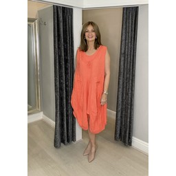 Lucy Cobb Pippa Linen Parachute Dress in Coral