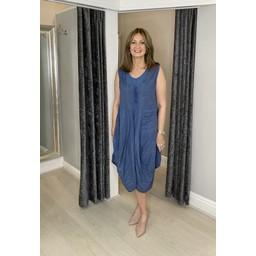 Lucy Cobb Pippa Linen Parachute Dress in Denim