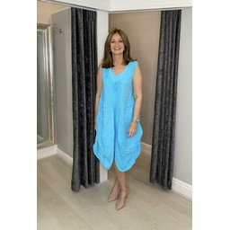 Lucy Cobb Pippa Linen Parachute Dress in Turquoise