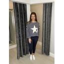 Stacy Stripe Star Top  - Navy